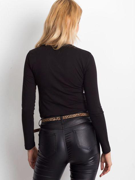 Czarna bluzka basic z długim rękawem                              zdj.                              2