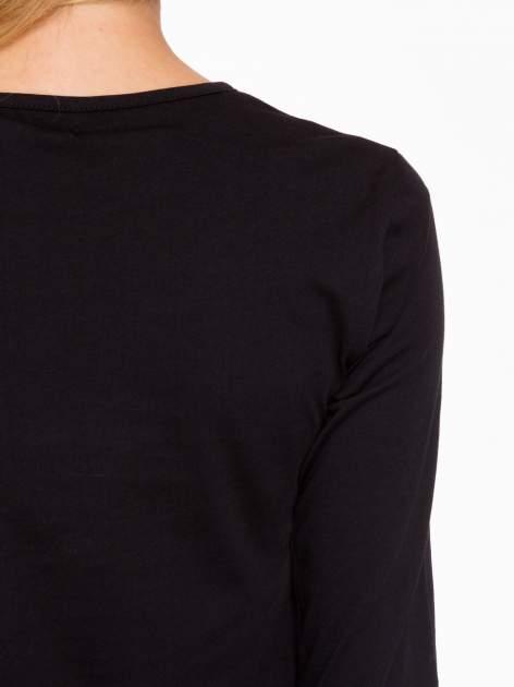 Czarna bluzka o rozkloszowanym kroju z rękawem 3/4                                  zdj.                                  6