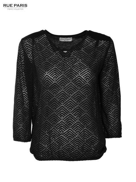 Czarna bluzka w geometryczny wzór z łezką z przodu                                  zdj.                                  2