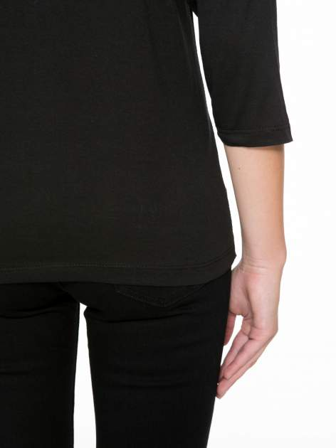 Czarna bluzka w stylu fashion z nadrukiem LA VIE EST BELLE                                  zdj.                                  10