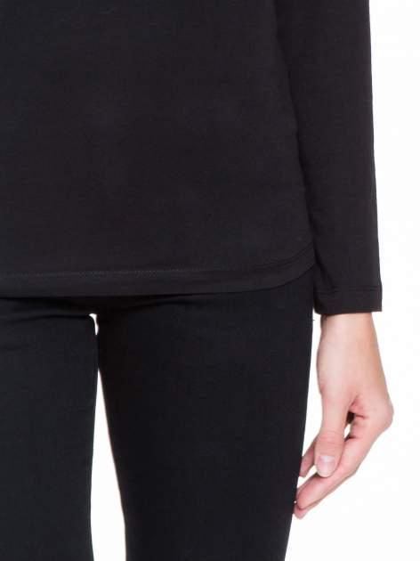 Czarna bluzka z koronkową wstawką na rękawach i z tyłu                                  zdj.                                  6