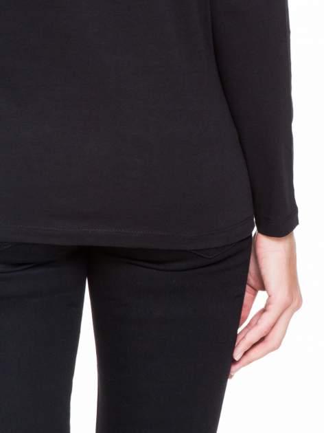 Czarna bluzka z koronkową wstawką na rękawach i z tyłu                                  zdj.                                  8