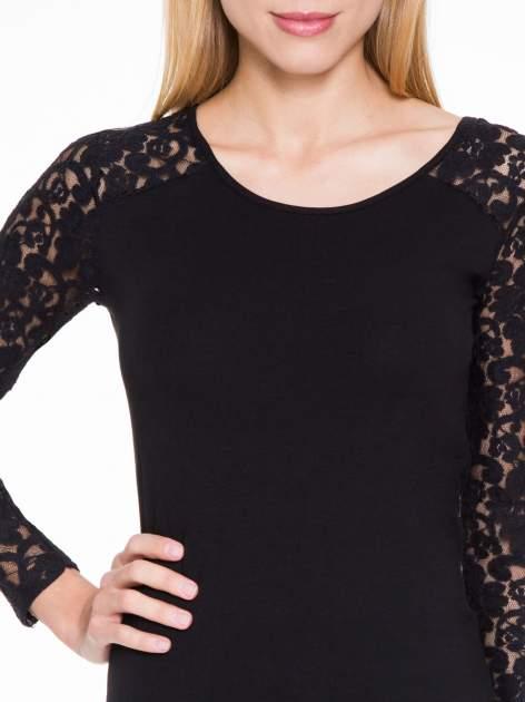 Czarna bluzka z koronkowymi rękawami                                  zdj.                                  5