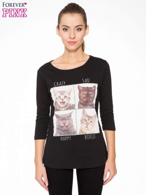 Czarna bluzka z nadrukiem kotów