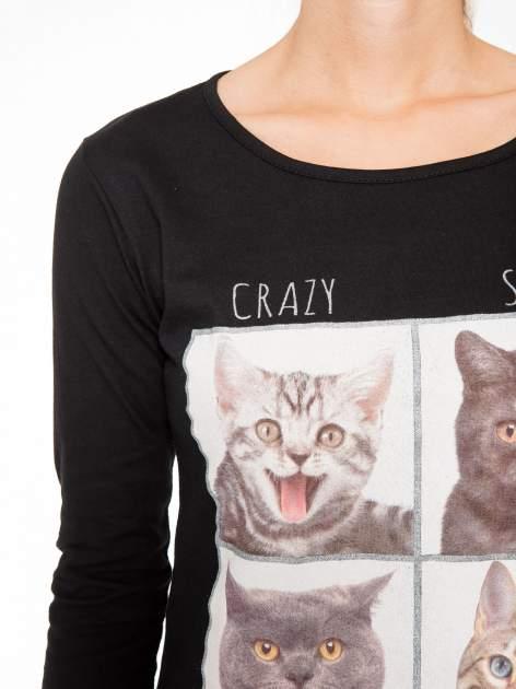 Czarna bluzka z nadrukiem kotów                                  zdj.                                  8