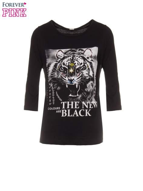 Czarna bluzka z nadrukiem tygrysa i napisem THE NEW COLOURS ARE BLACK                                  zdj.                                  2
