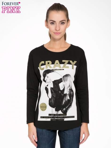 Czarna bluzka z napisem CRAZY i nadrukiem fashionistek                                  zdj.                                  1