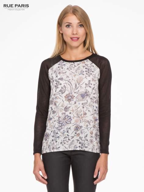 Czarna bluzka z reglanowymi rękawami i kwiatowym przodem                                  zdj.                                  1