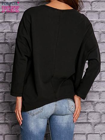 Czarna bluzka z rękawem nietoperz                                  zdj.                                  3