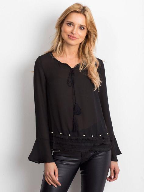 Czarna bluzka z wiązaniem i perełkami                               zdj.                              1