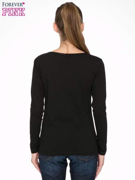 Czarna bluzka ze złotym brokatowym napisem ROCK AND ROLL                                  zdj.                                  4