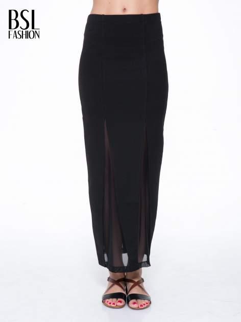 Czarna długa spódnica maxi z tiulowymi wstawkami na dole