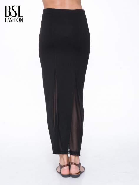 Czarna długa spódnica maxi z tiulowymi wstawkami na dole                                  zdj.                                  4