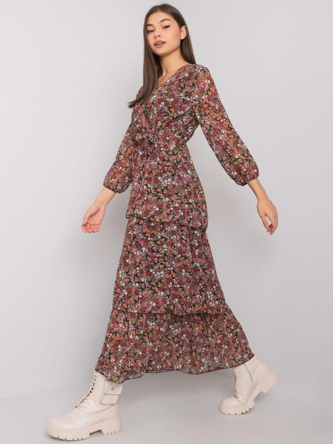 Czarna długa sukienka w kwiaty Atmore OCH BELLA