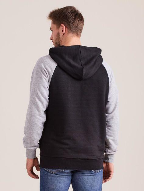 Czarna dresowa bluza męska z kapturem                              zdj.                              3
