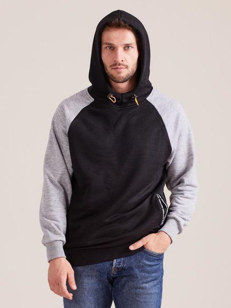 Czarna dresowa bluza męska z kapturem                              zdj.                              5