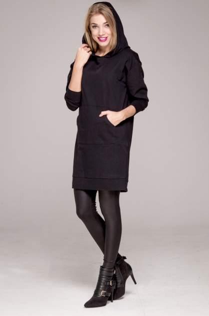 Czarna dresowa bluzosukienka z kapturem i kieszenią typu kangur                                  zdj.                                  10