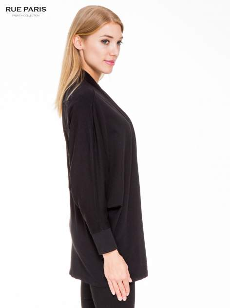 Czarna dresowa otwarta bluza z nietoperzowymi rękawami                                  zdj.                                  3
