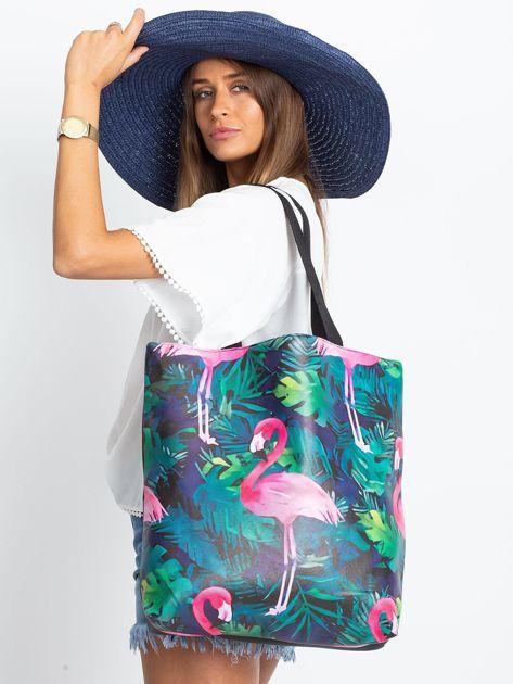 Czarna duża torba z flamingiem                              zdj.                              7