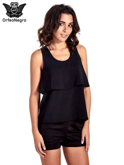 Czarna dwuwarstwowa bluzka koszulowa                                  zdj.                                  1