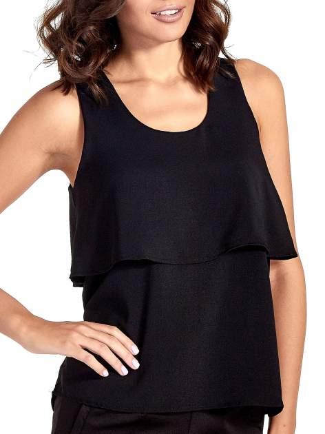 Czarna dwuwarstwowa bluzka koszulowa                                  zdj.                                  5
