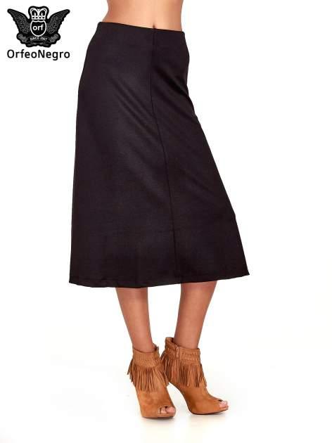 Czarna elegancka spódnica midi o rozkloszowanym kroju