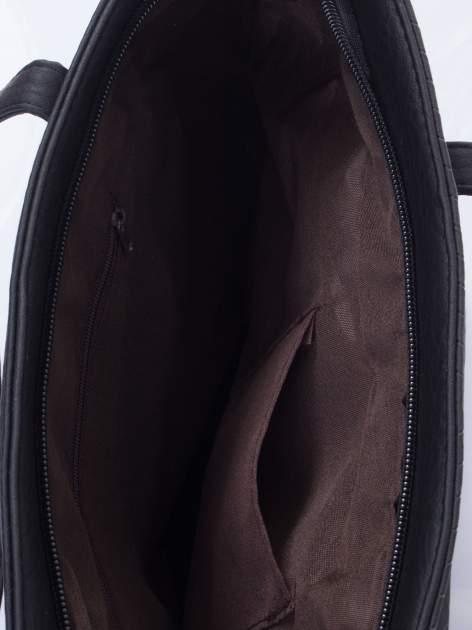 Czarna fakturowana torba shopper bag                                  zdj.                                  5