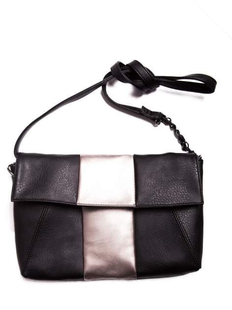 Czarna geometryczna torebka w stylu glamour                                  zdj.                                  3