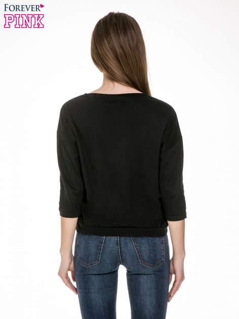 Czarna gładka bluzka z luźnymi rękawami 3/4                                  zdj.                                  4