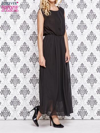 Czarna grecka sukienka maxi z koronką z tyłu                                  zdj.                                  3
