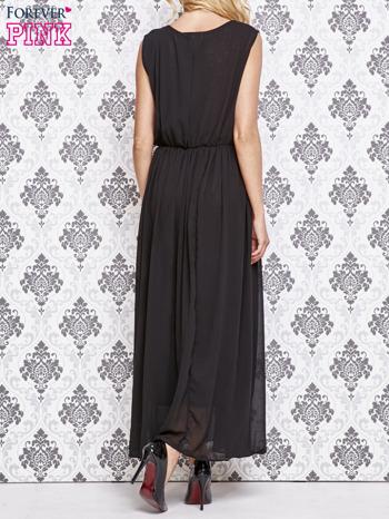 Czarna grecka sukienka maxi z koronką z tyłu                                  zdj.                                  4