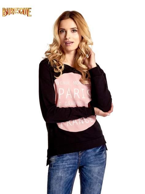 Czarna klasyczna bluza damska z napisem AVENUE MONTAIGNE