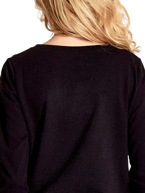 Czarna klasyczna bluza damska z napisem AVENUE MONTAIGNE                                  zdj.                                  6
