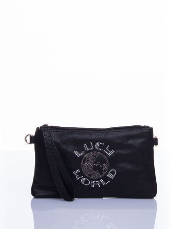 Czarna kopertówka z dżetami napis LUCY WORLD                                  zdj.                                  1