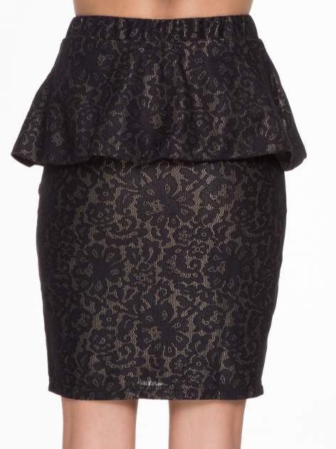 Czarna koronkowa mini spódnica z baskinką                                  zdj.                                  5