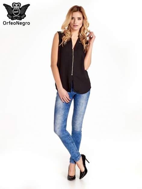 Czarna koszula V-neck z suwakiem                                  zdj.                                  7
