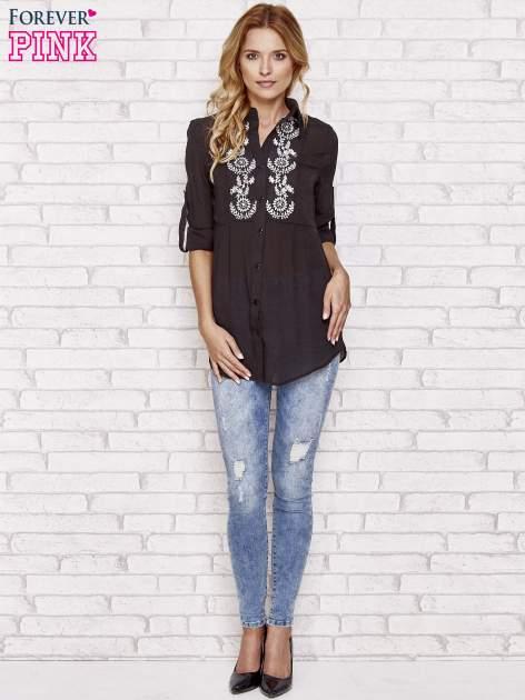 Czarna koszula hippie z haftem                                  zdj.                                  2