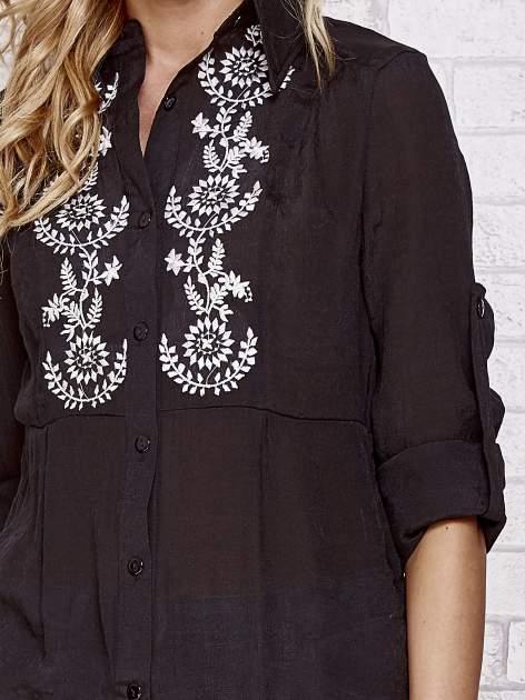 Czarna koszula hippie z haftem                                  zdj.                                  5