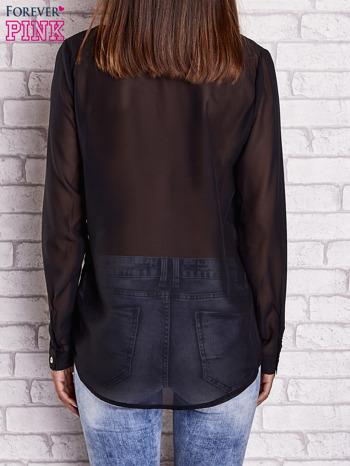 Czarna koszula mgiełka z dłuższym tyłem                                  zdj.                                  2