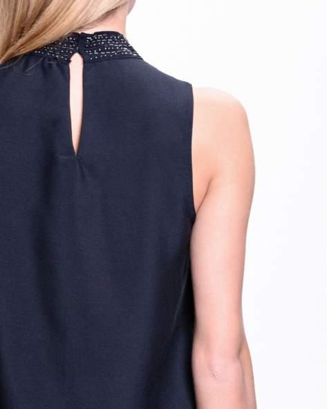Czarna koszula z biżuteryjnym golfem                                  zdj.                                  5