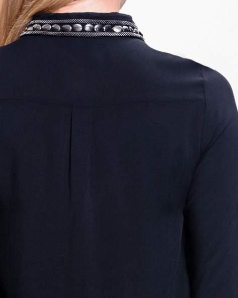 Czarna koszula z bizuteryjnym kołnierzykiem z cekinami                                  zdj.                                  6