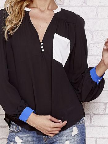 Czarna koszula z kontrastową kieszenią i mankietami                                  zdj.                                  5