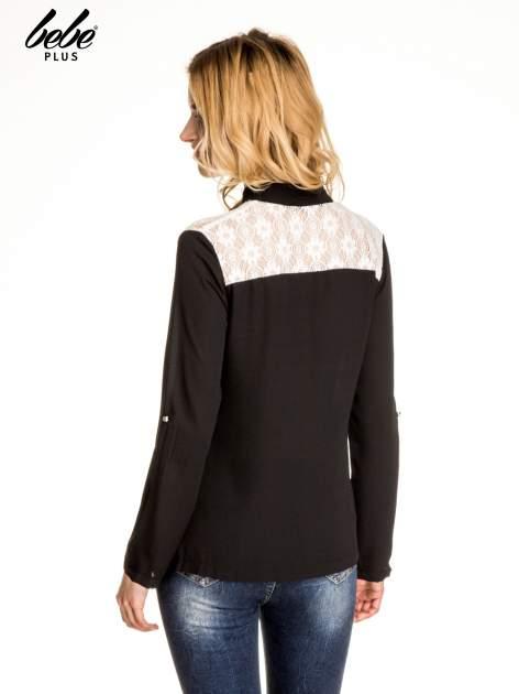 Czarna koszula z koronką i suwakiem                                  zdj.                                  2