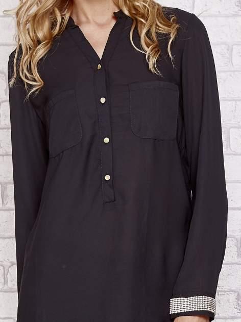 Czarna koszula z mankietem z cyrkonii                                  zdj.                                  5