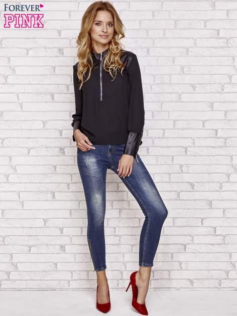 Czarna koszula ze skórzanymi pikowanymi wstawkami                                  zdj.                                  2