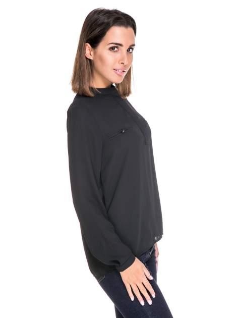 Czarna koszula ze stójką i kieszonkami na guziczki                                  zdj.                                  3