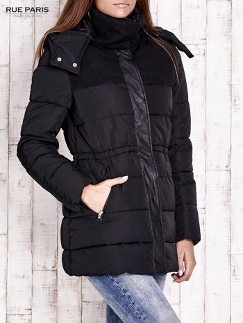 Czarna kurtka puchowa ze skórzanymi wstawkami                                  zdj.                                  3