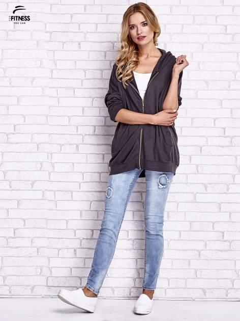 Czarna melanżowa bluza oversize                                  zdj.                                  8