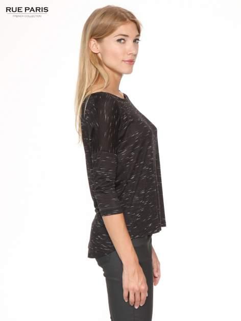 Czarna melanżowa bluzka o obniżonej linii ramion                                  zdj.                                  3