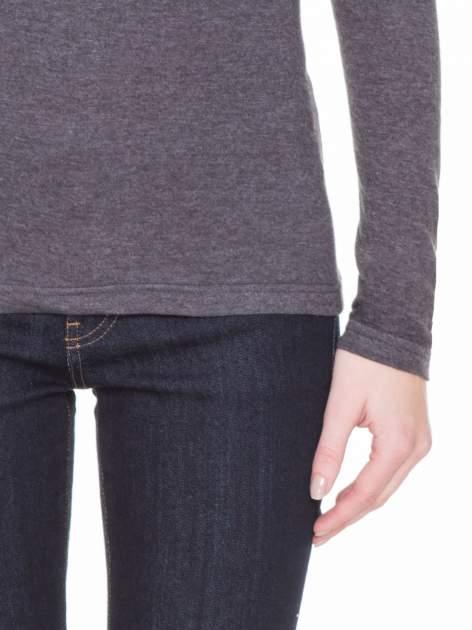 Czarna melanżowa gładka bluzka z reglanowymi rękawami                                  zdj.                                  8